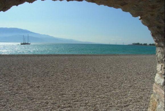 Nafpaktos beach, in the distance Rio bridge..to Patras