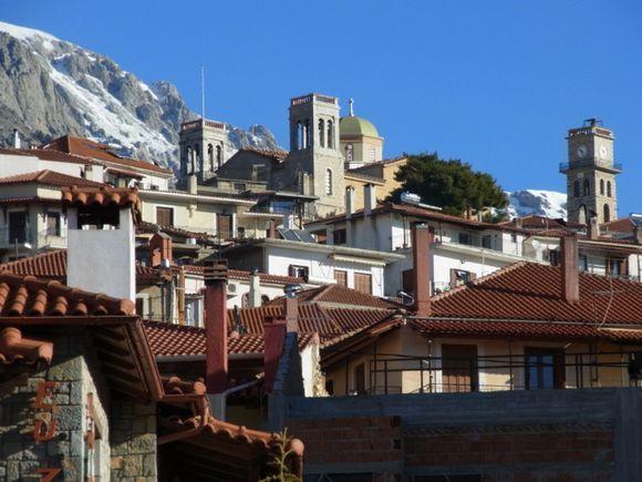 Arachova, against mountain Parnassos
