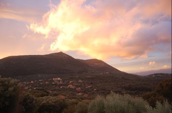 natural sunset over stavros - ithaki October