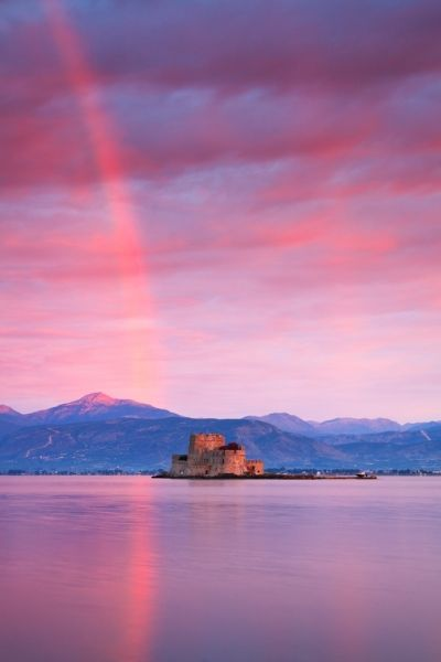 castle and a red rainbow