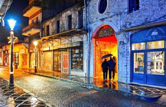 Cinematographic atmosphere in rainy Ioannina city