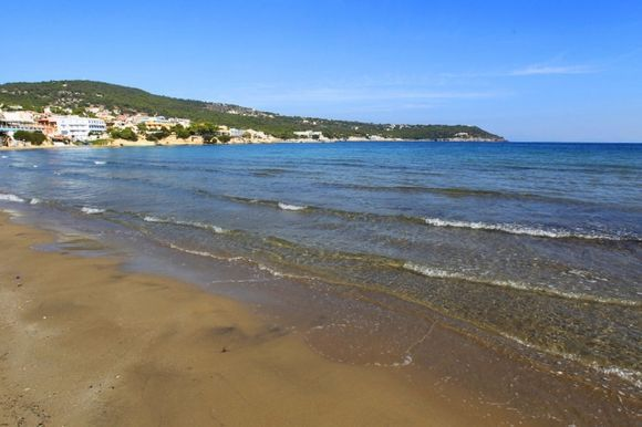 The beach of Agia Marina in late October