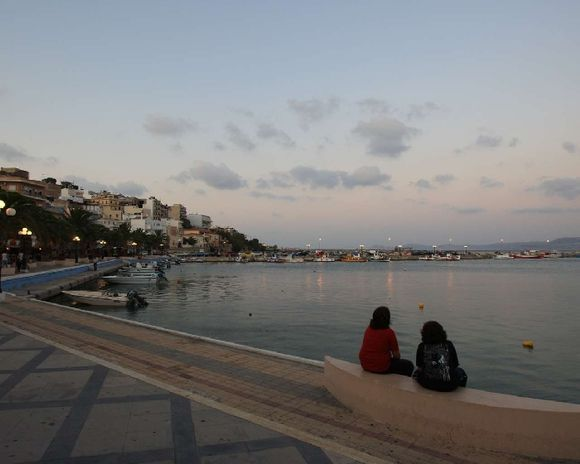 The harbour of Sitia at the sunset