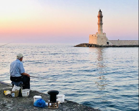 games of light at Chania sunset