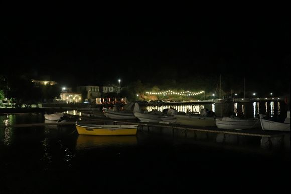 Frikes Harbour at night.