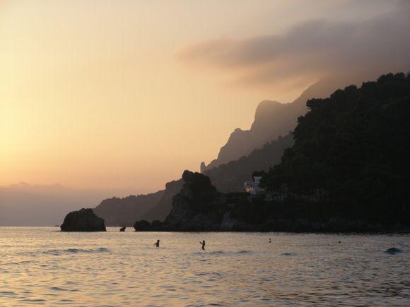 sunset on Glyfada beach