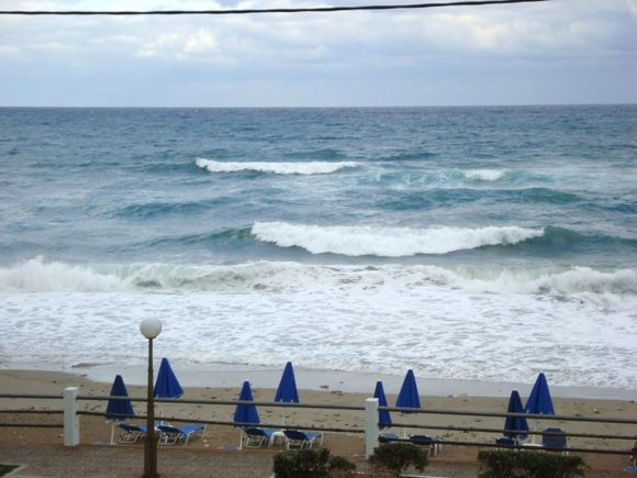 Waves at the beach in Rethymno