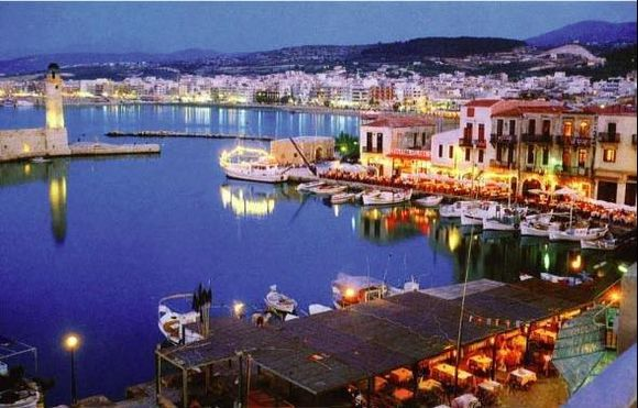 Rethymno in the evening. In the front the Venetian Harbour.