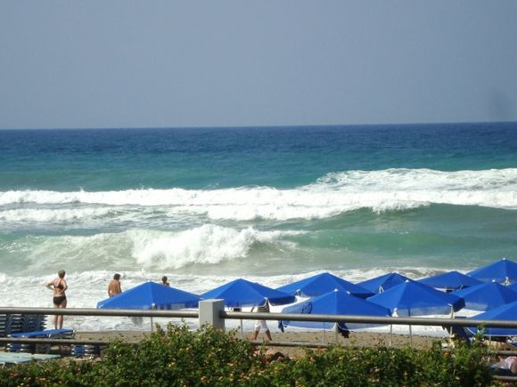 Walves at the beach in Rethymno.
