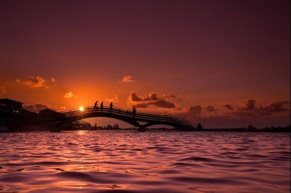 Bridge in Lefkada town at sunset