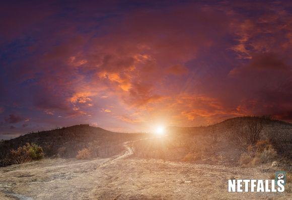 Burt hills of Gerakas at sunset