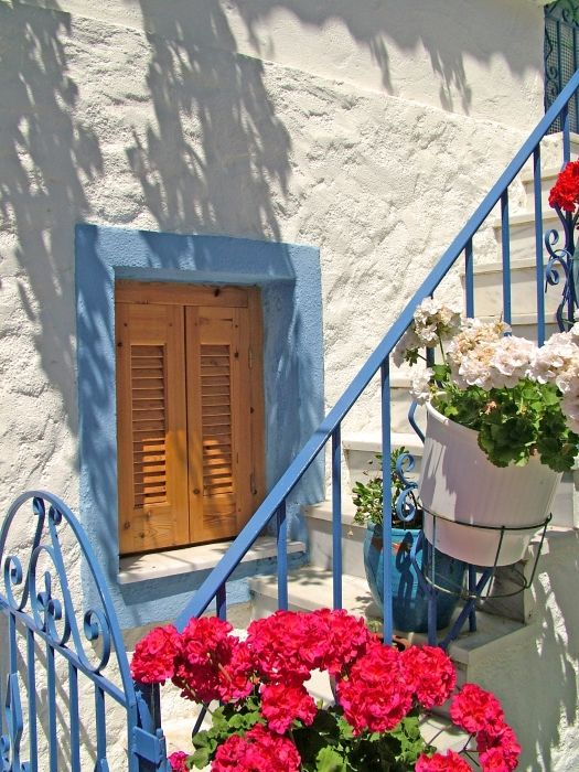 A Greek window, well decorated and beautiful, this picture was taken in Skiathos town