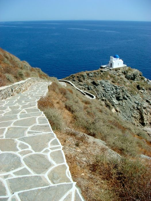 White-rimmed stone path to the Church of Seven Martyers, Sifnos