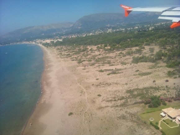 view from our plane of kalamaki beach as we land