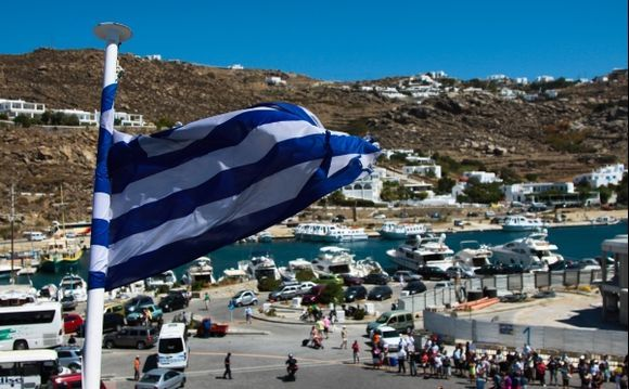 Ferry stop at the Port of Mykonos