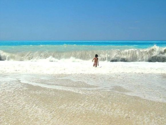 Waves in Kefalonia and girl