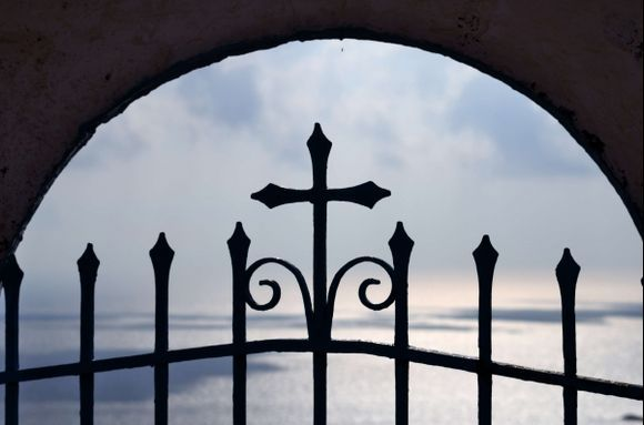 Beyond the gate...  (Thirassia island, gate to Aegean at monastery)