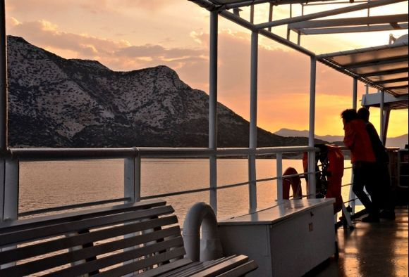 Sunrise crossing by Nikouria island  (on board of Express Scopelitis)