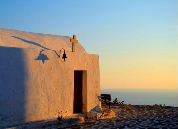 The bench overlooking Santorini....