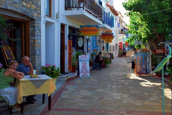 meeting Greek friends on a little street, Kokkari