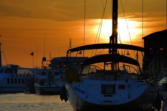 boats, sunset and Samos port