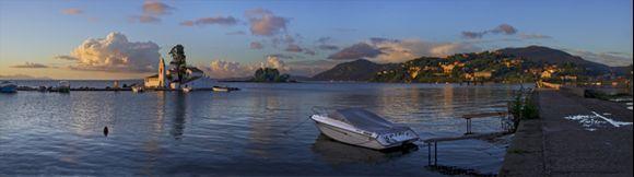 Beautiful morning in Corfu - panoramic image