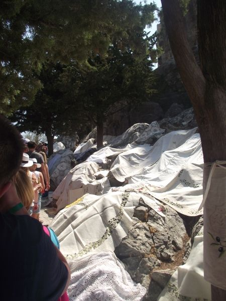 The tablecloths all strewn over the pathways in Lindos, to buy!!!
