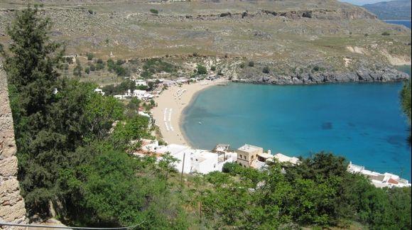 Rhodes Lindos beach Megali Paralia