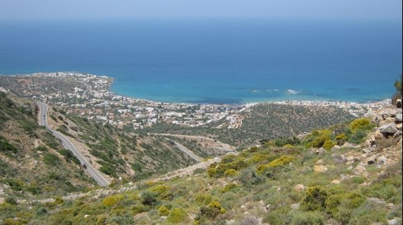 Crete View to Stalida beach from Lassithi Plateau