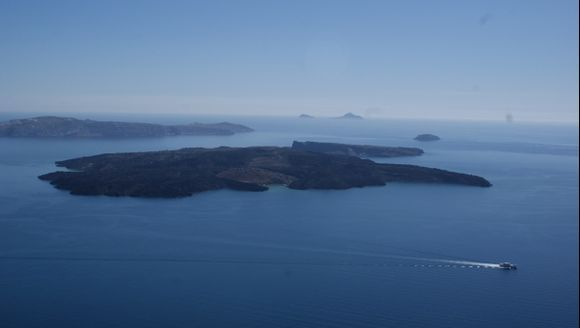 Santorini View to Volcano