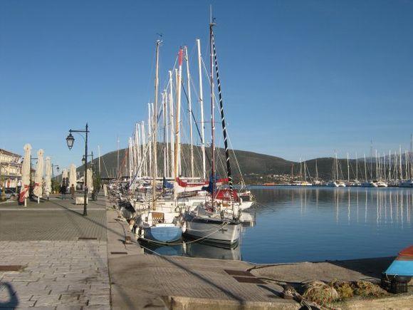 Lefkada town port in winter