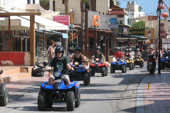 A row of quad bikes in Malia, Crete. Picture taken in June, 2009