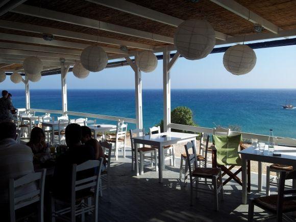 View from Tarantella beach restaurant - Provatas
