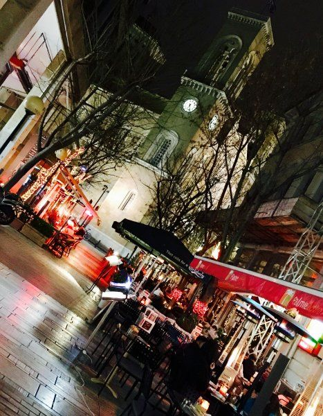 A warm winter night in downtown Athens