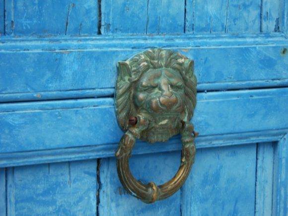 door detail - lion needs a new nail