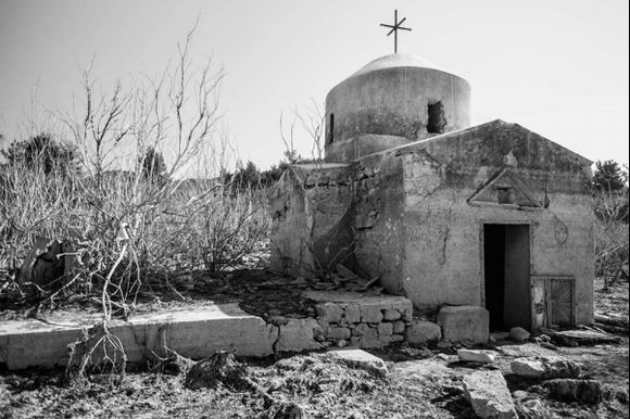 Church in Apolakia reservoir that is normally under water as far as the dome but due to NO rain it is now accessible on foot.