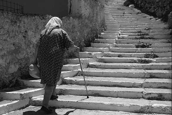 Amazing how old people in the Greek islands have to, and do, have to do all that climbing!