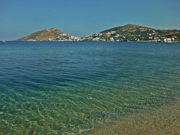 Leros island, Alinda beach, in the background Panteli village.