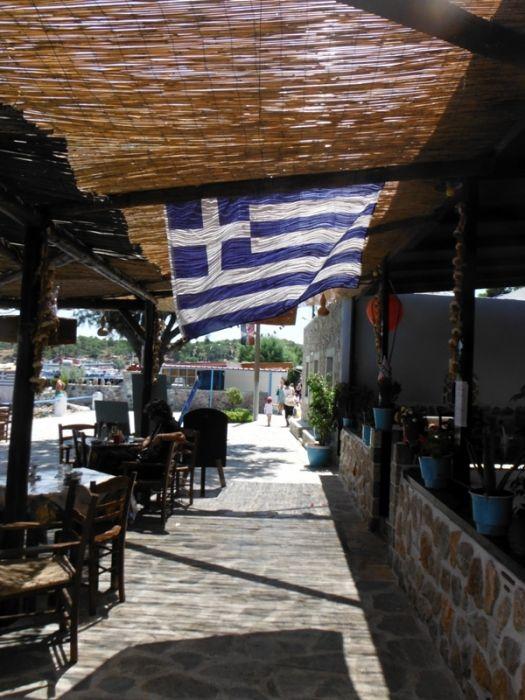 Telendos island, restaurants and taverna in the coast of the beautiful small island