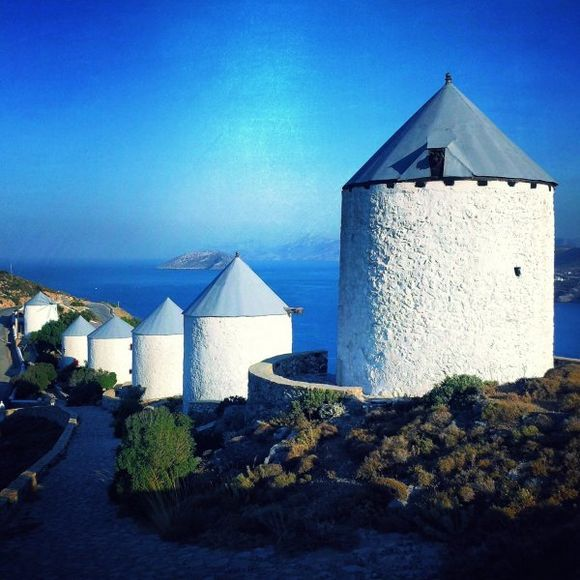 Leros july 2015, the famous 6 windmills, situated over Pandeli