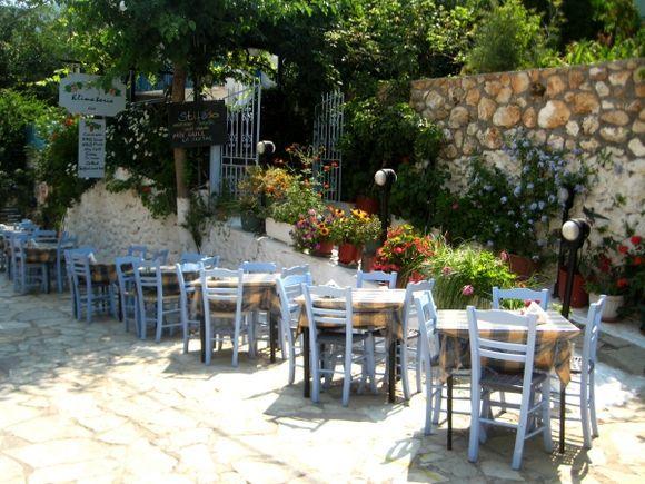 Lefkada, restaurants in the main street of Agios Nikitas