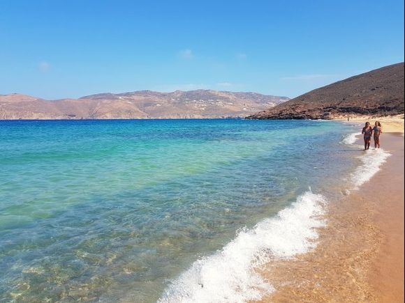 Mykonos august 2017, Panormos is located on the northern side of the island and it is much secluded. Away from tourist facilities and water sports centres, Panormos is a calm and non-organized beach. Visitors need private transport to get there as no bus or boat goes to Panormos.