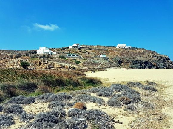 Mykonos august 2017, Fokos is located on the northern side of Mykonos island. Due to its long distance from the developed southern beaches, Fokos is secluded and very calm, even in high season.
