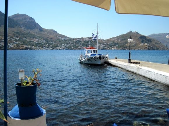 Kalymnos island, a view from Telendos island, in the background Myrties village