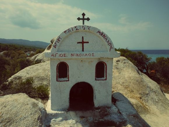 Halkidiki, a little church in Kavourotrypes beach (Orange beach)