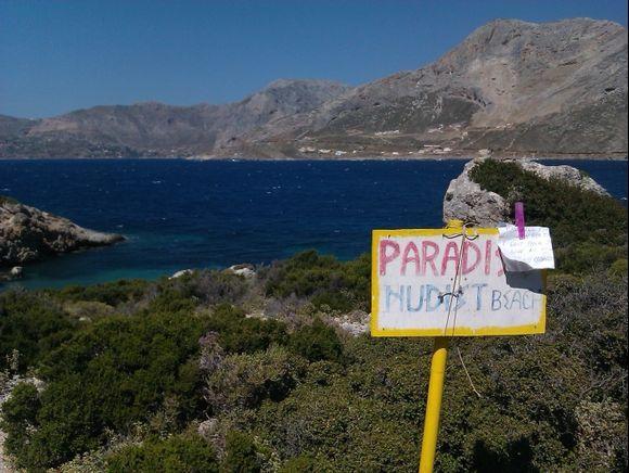 Kalymnos, Telendos island, Paradise nudist beach. Kalymnos island in the back