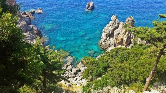 Corfu island, view from the exterior of the Monastery of Paleokastritsa