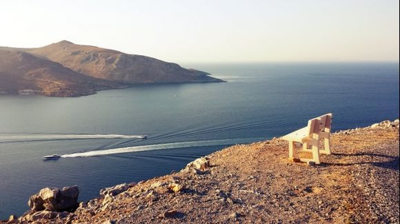 Leros, island, panorama from the Medieval Castle in Pandeli