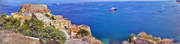 Corfu island, view of the Old Fortress in Kerkira