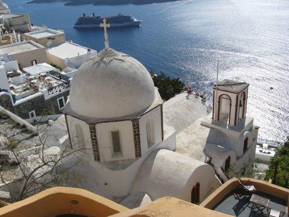Santorini, an amazing view of the catholic church in Fira.